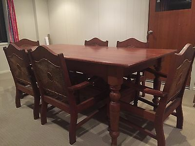 Antique Silky Oak Dining Table & Red Cedar Chairs
