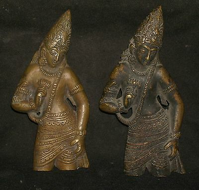 Antique Looking Indian Brass Pair Of Door Handle Rare #4
