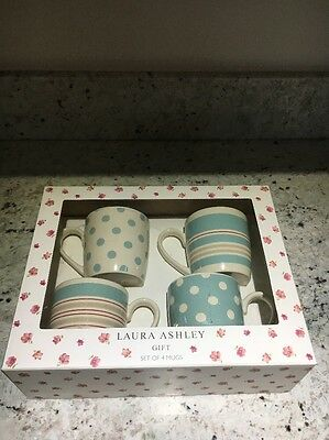 LAURA ASHLEY LARGE WIDE STRIPED MUGS x2 And DOTS MUGS x2 Gift Set