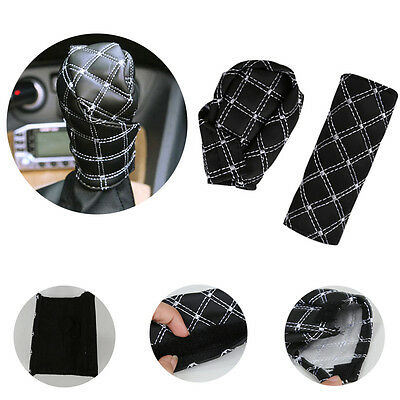 Universal PU Auto Car Parking Hand Brake Cover Gear Shift Stick Cover Black