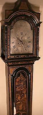 "Antique Black Lacquered Case "" Helston "" Longcase / Grandfather Clock"