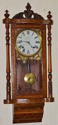 19C Marquetry Inlaid American Regulator Wall Clock // Fully Serviced !! [PL2714]