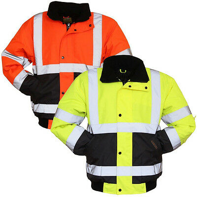 Hi Vis Two Tone Visibility Bomber Jacket Coat Work Wear Yellow/Orange with Cuff