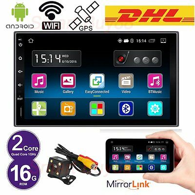 "Android 5.1 Autoradio 7"" Double 2 DIN Car GPS Player Bluetooth SAT NAV Mirror"