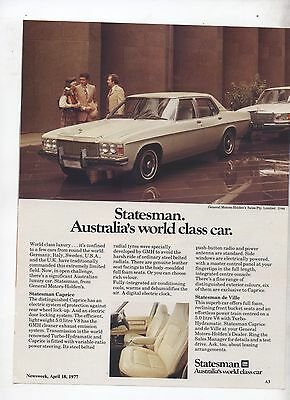 HX or HZ Holden Statesman Original Advertisement removed from a Magazine