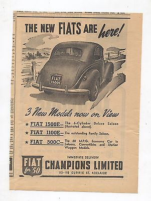 Fiat 1500E Original Advertisement removed from a 1950 Magazine