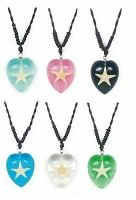 Real Surfers Sea Life Starfish Love Heart Necklace Charm