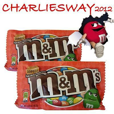 2 x M&M'S PEANUT BUTTER DA 46 GR M&MS AL BURRO D'ARACHIDI MADE IN USA BUONISSIME