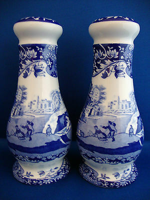 Spode Blue Italian Tall Salt and Pepper New Boxed 6.25 inch