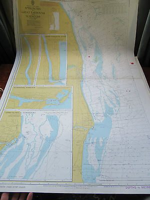 """1978 Approaches LOWESTOFT HARBOUR & GREAT YARMOUTH SEA MAP Chart 28"""" x 41"""""""
