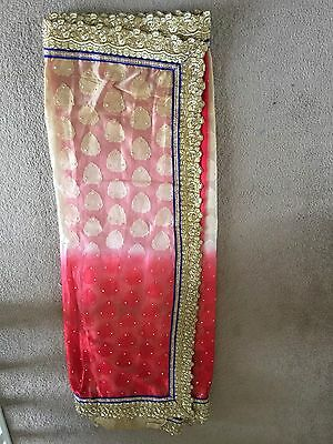 Bollywood Fashion Designer Saree Red Cream Gold Asian Indian Partwear With Blous