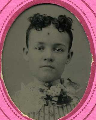 """Small Tintype Photo of Young Lady in Pink Paper Frame 1 1/2"""" x 1"""""""