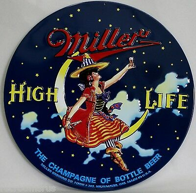 MILLER high life beer girl on the moon heavy embossed metal sign lady 2050091