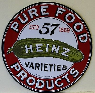 HEINZ 57 VARIETIES heavy embossed metal sign pickle pure food products 2090031