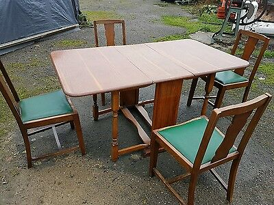 Vintage oak kitchen dining room table and chairs x4 30s 40s 50s drop leaf table