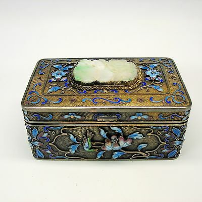 Antique Chinese silver gilt and enamel box with jade plaque