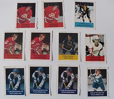 1974-75 Loblaws NHL Hockey Action Player Stamps - Lot of 11