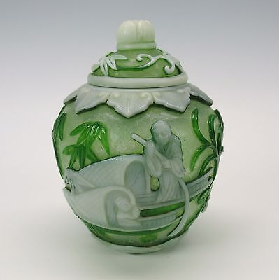 Vintage Chinese Peking carved cameo glass ginger jar