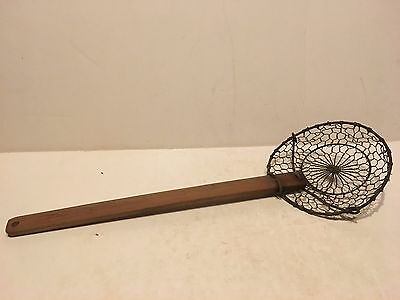 """Vintage Hand Made Wood Handle Copper? Webbing Strainer with Metal Rings 14"""""""