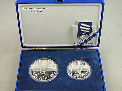 1991 Norway 50 & 100 Konge Silver Proof's 2 Coins In box & has coa (Lillenhammer