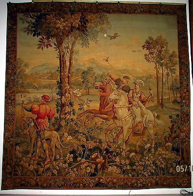 "Large Magnificent Antique French Tapestry C 1820 Aubusson Hunting 8'5"" x 8'5"""