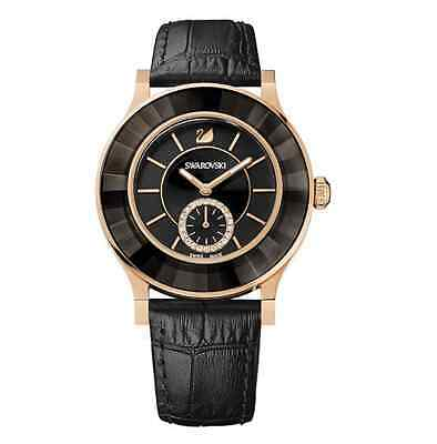Swarovski Octea Classica Black Rose Gold Tone Ladies Watch 1181762