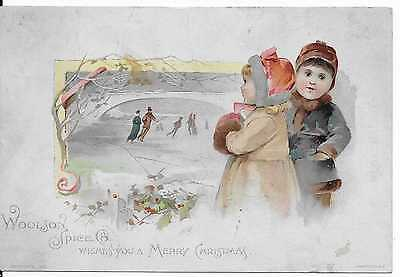 Woolson Spice Lion Coffee Christmas Victorian  Trade Card  Ice Skating Pond 1890