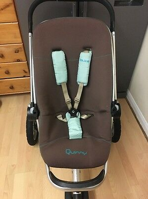 Quinny Buzz Raccoon Full Seat Unit ONLY With Newborn Cover & Chest Pads, VGC