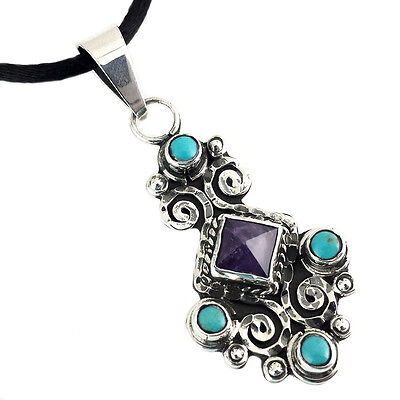 TAXCO 925 VINTAGE STYLE AMETHYST TURQUOISE PENDANT | Mexico Sterling Silver