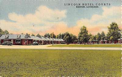 Ruston Louisiana Lincoln Hotel Courts Street View Antique Postcard K46718