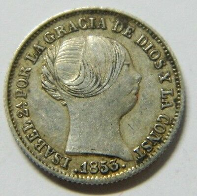 1 Real Isabel Ii 1853 Barcelona  Silver Coin . .1