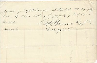 1864 Document Receipt of Clothing for Major Edward McMahon