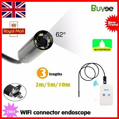 Wireless Wifi Borescope Endoscope 6LED Inspection Camera For iPhone iOS Android