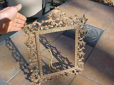ANTIQUE ORNATE LARGE HEAVY BRASS PICTURE FRAME - HOLDS 8x10 PHOTO OR MIRROR