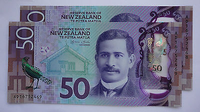 2016 $50  NEW  UNC  New Zealand note - Latest issue & Design