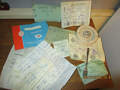Orient Lines Royal Doulton Ashtray / P+O Fork / Passage Tickets /Seaman's papers