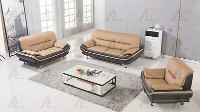 American Eagle AE 709 Modern Brown And Yellow Bonded Leather Sofa Set 3pcs