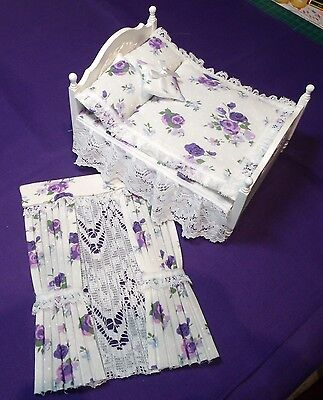 12th SCALE MATCHING DOUBLE BED SET & CURTAINS PURPLE & LILAC FLOWERS ON WHITE