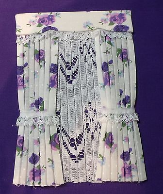 12th SCALE CURTAINS PURPLE ON WHITE FLOWERS