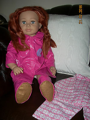 """Smoby Girl Toddler Doll - Roxanne?- Dressed In Pink Raincoat - 25""""-Excellent-"""
