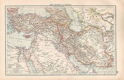 """1900 """"times""""  Large Antique Map - Asia Minor And Persia, Cyprus"""