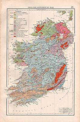 "1900 ""times""  Large Antique Map - Ireland, Geological Map"
