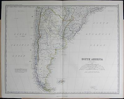 1875 Extra Large Antique Map - South America, Southern Section