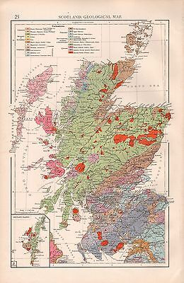 """1900 """"times""""  Large Antique Map - Scotland, Geological Map"""