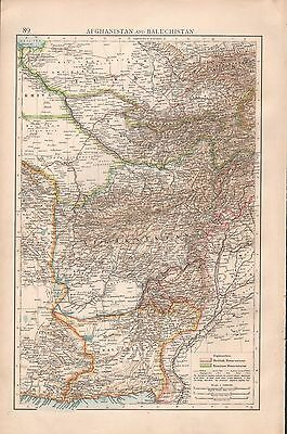 """1900 """"times""""  Large Antique Map - Afghanistan And Baluchistan"""