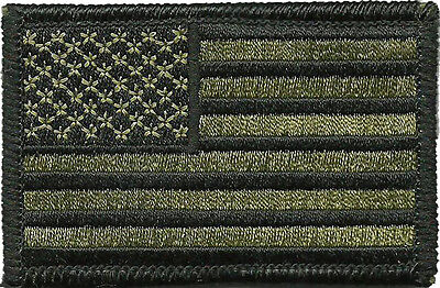 "USA Flag Tactical Patch - 2"" x 3"" - Olive Drab"