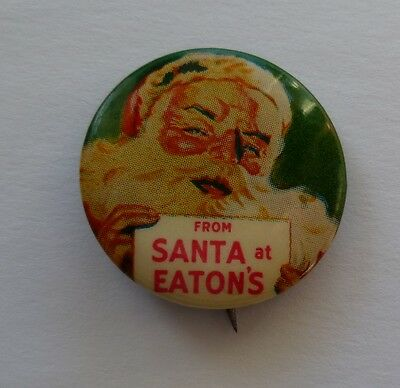 1950s From Santa At Eaton's Pinback Button Canada Department Store