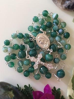 Green Banded Striped Agate gemstone rosary prayer beads crucifix SALE