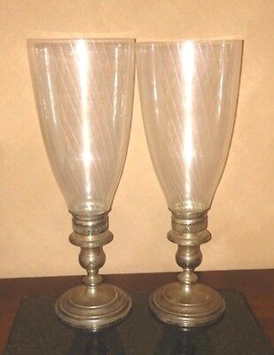 Pair of Fisher Sterling Silver Candlestick Holders w/ Hurricane Shades #809