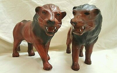 Hand Carved Wood Animals Lion Couple African Exotic Fine Detail Brand New